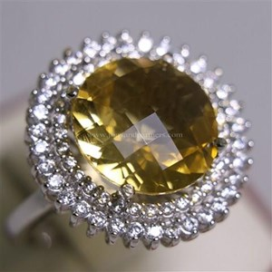 Cincin Permata Natural Citrine 8.24 ct Bulat Checkerboard Kuning No Treatment