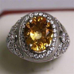Cincin Permata Natural Citrine 3.43 ct Oval Mixed Brilliant Kuning No Treatment