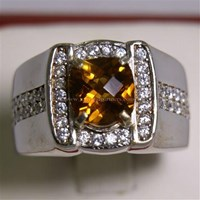 Beli Cincin Permata Natural Citrine 1.93 ct Persegi Cushion Checkerboard Orange Kekuningan No Treatment 4