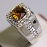 Jual Cincin Permata Natural Citrine 1.93 ct Persegi Cushion Checkerboard Orange Kekuningan No Treatment 2