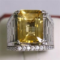 Cincin Permata Natural Citrine 9.18 ct Persegi Delapan Step Cut Kuning No Treatment 1