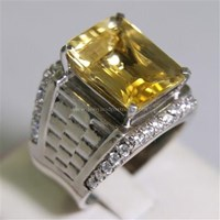 Beli Cincin Permata Natural Citrine 9.18 ct Persegi Delapan Step Cut Kuning No Treatment 4