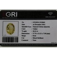 Jual Cincin Permata Natural Citrine 10.13 ct Oval Mixed Brilliant Kuning No Treatment 2