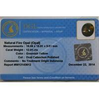 Jual Cincin Permata Natural Fire Opal 12.01 ct Oval Cabochon Kuning Kehijauan No Treatment 2