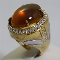 Distributor Cincin Permata Natural Fire Opal 98.35 ct (dengan ring) Oval Buff Top Orange Kekuningan No Treatment 3