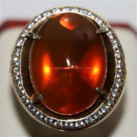 Cincin Permata Natural Fire Opal 98.35 ct (dengan ring) Oval Buff Top Orange Kekuningan No Treatment 1
