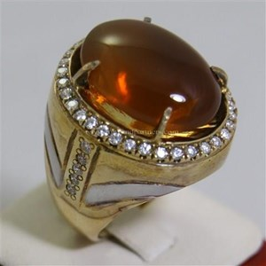 Cincin Permata Natural Fire Opal 98.35 ct (dengan ring) Oval Buff Top Orange Kekuningan No Treatment