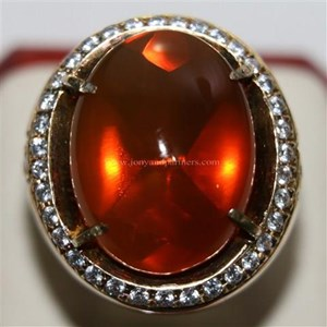 Cincin Permata Natural Fire Opal 98.35 ct (dengan ring) Oval Buff Top Orange Kekuningan No Treatment