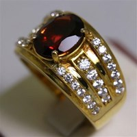 Distributor Cincin Permata Natural Garnet 3.59 ct Oval Mixed Brilliant Merah No Treatment 3