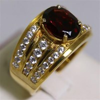 Beli Cincin Permata Natural Garnet 3.59 ct Oval Mixed Brilliant Merah No Treatment 4