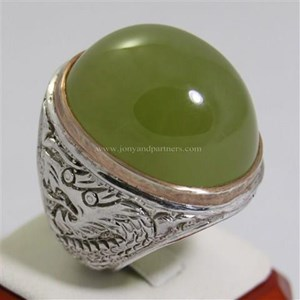 Cincin Permata Natural Idocrase 117.00 ct (dengan ring) Oval Cabochon Hijau No Treatment