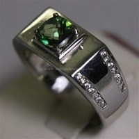 Jual Cincin Permata Natural Green Topaz 1.18 ct Persegi Cushion Checkerboard Hijau Coating 2