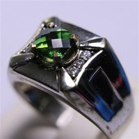 Distributor Cincin Permata Natural Green Topaz 1.19 ct Persegi Cushion Checkerboard Hijau Coating 3