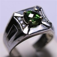 Beli Cincin Permata Natural Green Topaz 1.19 ct Persegi Cushion Checkerboard Hijau Coating 4