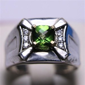 Cincin Permata Natural Green Topaz 1.19 ct Persegi Cushion Checkerboard Hijau Coating