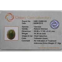 Distributor Cincin Permata Natural Idocrase 44.38 ct Oval Cabochon Hijau Kekuningan No Treatment 3