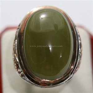 Cincin Permata Natural Idocrase 44.38 ct Oval Cabochon Hijau Kekuningan No Treatment