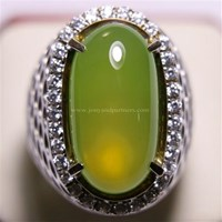 Beli Cincin Permata Natural Idocrase 86.57 ct (dengan ring) Oval Cabochon Hijau Kekuningan No Treatment 4