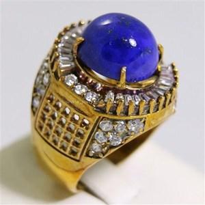 Cincin Permata Natural Lapis Lazuli 10.05 ct Oval Cabochon Biru No Treatment