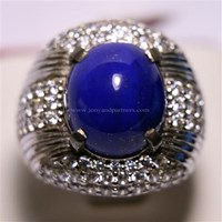 Cincin Permata Natural Lapis Lazuli 8.19 ct Oval Cabochon Biru No Treatment 1