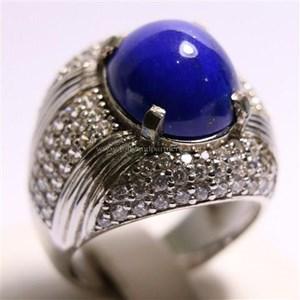 Cincin Permata Natural Lapis Lazuli 8.19 ct Oval Cabochon Biru No Treatment