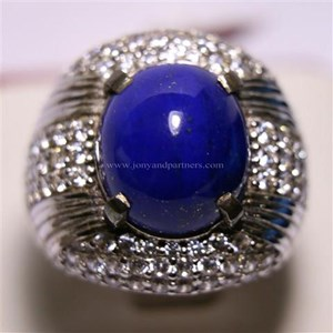 Cincin Permata Natural Lapis Lazuli 8.19 ct Oval Cabochon Biru No Treatment