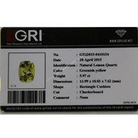 Jual Cincin Permata Natural Lemon 5.97 ct Persegi Panjang Checkerboard Kuning Kehijauan No Treatment 2