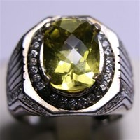 Cincin Permata Natural Lemon 5.97 ct Persegi Panjang Checkerboard Kuning Kehijauan No Treatment 1