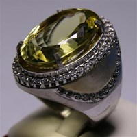 Distributor Cincin Permata Natural Lemon 125.00 ct (dengan ring) Oval Mixed Brilliant Kuning Kehijauan No Treatment 3