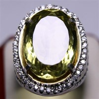 Cincin Permata Natural Lemon 125.00 ct (dengan ring) Oval Mixed Brilliant Kuning Kehijauan No Treatment 1
