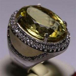 Cincin Permata Natural Lemon 125.00 ct (dengan ring) Oval Mixed Brilliant Kuning Kehijauan No Treatment