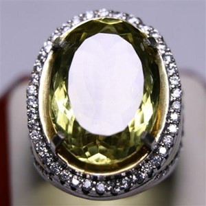 Cincin Permata Natural Lemon 125.00 ct (dengan ring) Oval Mixed Brilliant Kuning Kehijauan No Treatment