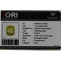 Jual Cincin Permata Natural Lemon 10.59 ct Persegi Panjang Checkerboard Kuning Kehijauan No Treatment 2