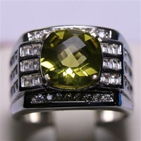 Cincin Permata Natural Lemon 3.22 ct Persegi Checkerboard Kuning Kehijauan Heated 1