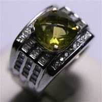 Beli Cincin Permata Natural Lemon 3.22 ct Persegi Checkerboard Kuning Kehijauan Heated 4