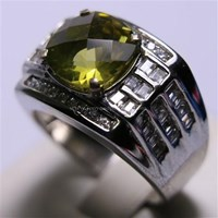 Distributor Cincin Permata Natural Lemon 3.22 ct Persegi Checkerboard Kuning Kehijauan Heated 3