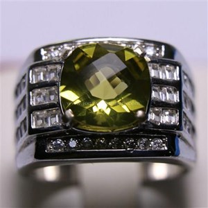 Cincin Permata Natural Lemon 3.22 ct Persegi Checkerboard Kuning Kehijauan Heated