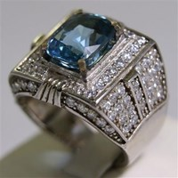 Distributor Cincin Permata Natural Blue Topaz  5.70 ct Persegi Panjang Brilliant Biru No Treatment 3