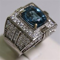 Beli Cincin Permata Natural Blue Topaz  5.70 ct Persegi Panjang Brilliant Biru No Treatment 4