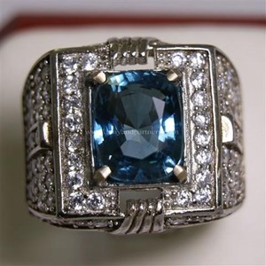 Cincin Permata Natural Blue Topaz  5.70 ct Persegi Panjang Brilliant Biru No Treatment