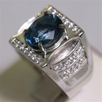 Distributor Cincin Permata Natural Blue Topaz 4.33 ct Oval Brilliant Biru No Treatment 3