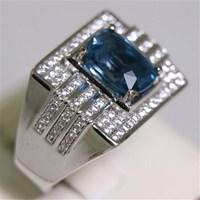 Beli Cincin Permata Natural Blue Topaz 4.22 ct Persegi Panjang Modified Brilliant Biru No Treatment 4