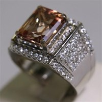 Distributor Cincin Permata Natural Pink Topaz 7.61 ct Persegi Delapan Step Cut Pink Kecoklatan Coating 3