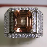 Cincin Permata Natural Pink Topaz 7.61 ct Persegi Delapan Step Cut Pink Kecoklatan Coating 1