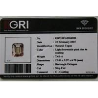 Distributor Cincin Permata Natural Pink Topaz 7.61 ct Persegi Delapan Step Cut Pink Kecoklatan Coating 3