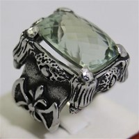 Beli Cincin Permata Natural Prasiolite 16.80 ct Persegi Panjang Checkerboard Hijau Keabuan No Treatment 4