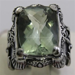 Cincin Permata Natural Prasiolite 16.80 ct Persegi Panjang Checkerboard Hijau Keabuan No Treatment