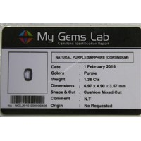 Jual Cincin Permata Natural Purple Safir 1.36 ct Persegi Panjang Mixed Brilliant Ungu No Treatment 2