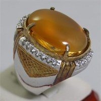 Cincin Permata Natural Raflesia 119.16 ct (dengan ring) Oval Cabochon Orange Kekuningan No Treatment 1