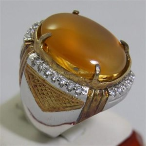 Cincin Permata Natural Raflesia 119.16 ct (dengan ring) Oval Cabochon Orange Kekuningan No Treatment